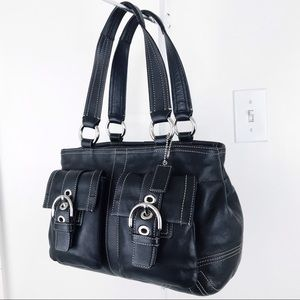 Coach Soho Black Leather Tote Bag Carryall